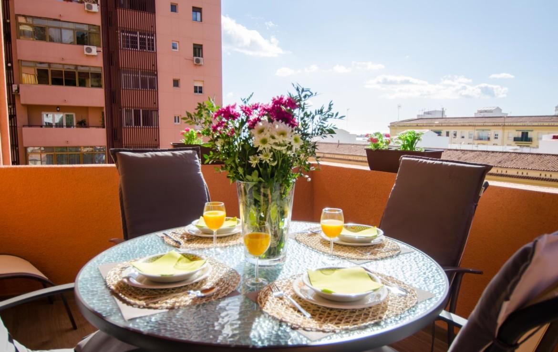Malaga beach and terrace